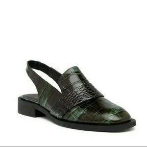 Free People Abbey Road Green Croc Slingback Mules